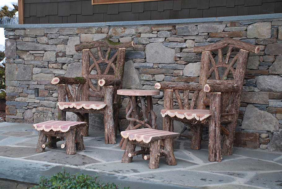 rustic outdoor chairs high dining room thrones patio sets picnic tables windham ottomons table set