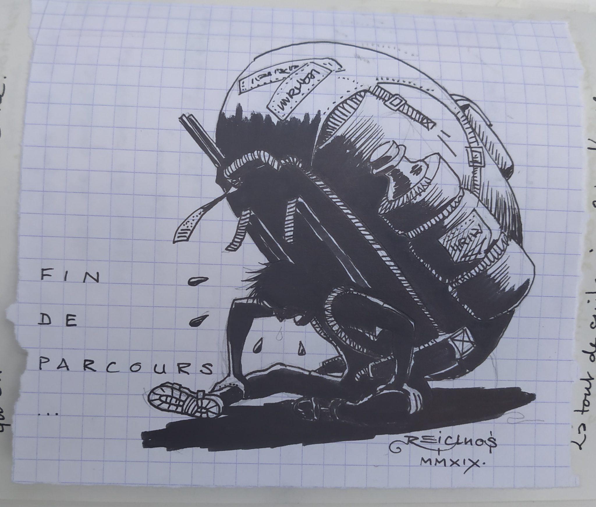 Fin de parcours - la fatigue du voyageur (dessin)