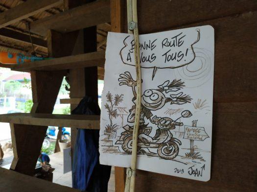 Fandee guesthouse, Tad Lo, Laos : nous croisons les traces du dessinateur Joan ! (Spirou magazine)