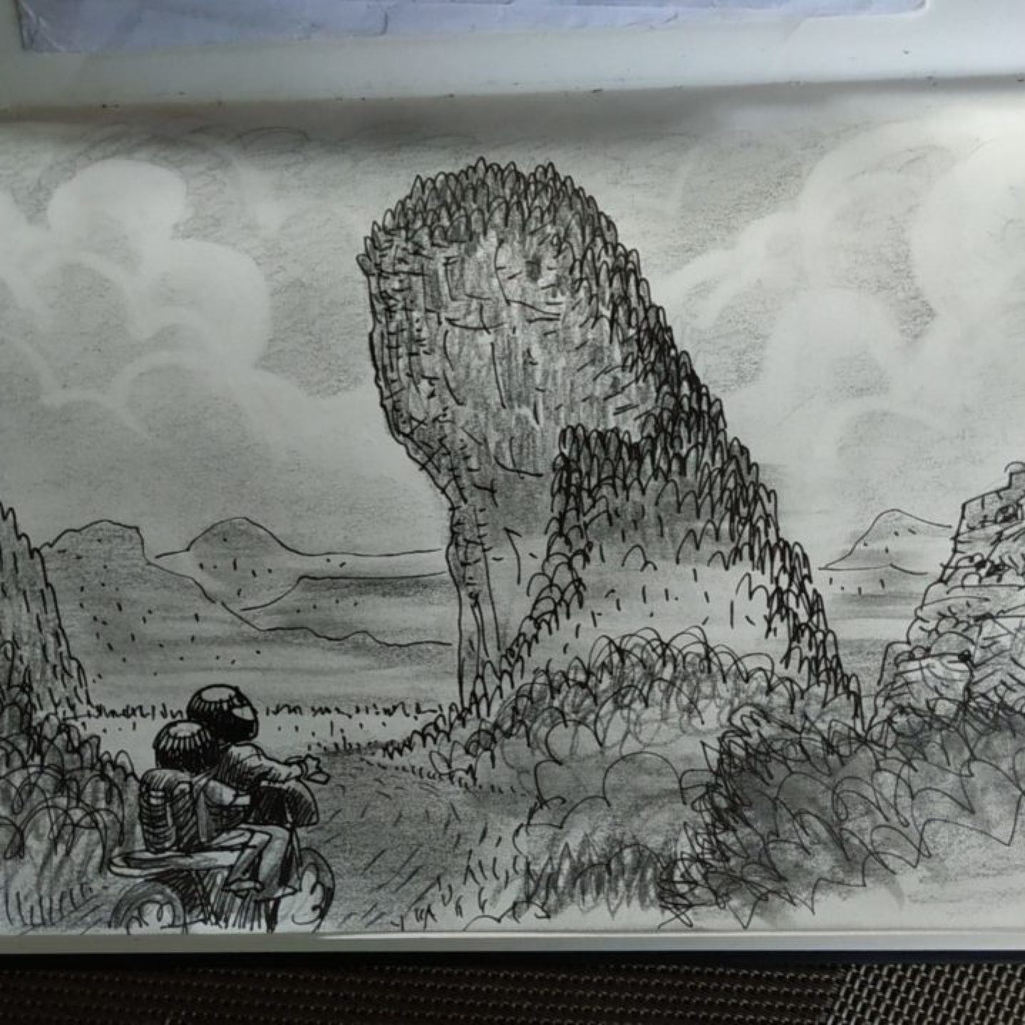 "Dessin ""On the road"" - les paysages de la boucle de Thakhek, Laos"