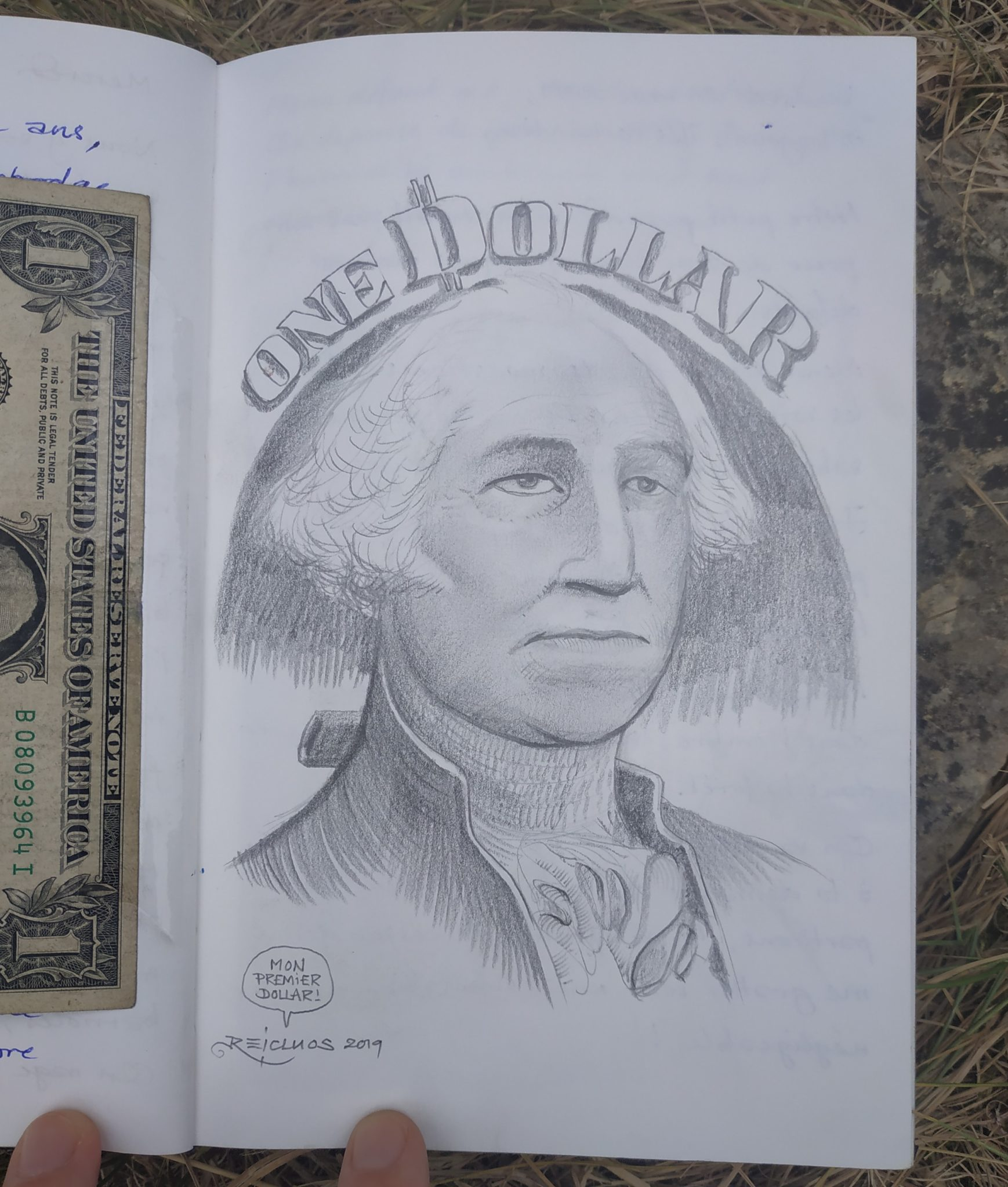 One Dollar - la tête de G.Washington (dessin)