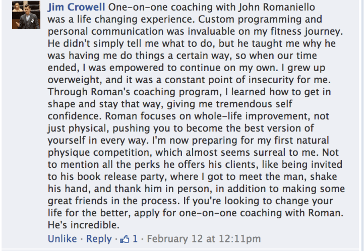 Jim Crowell Facebook Testimonial