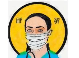 """Francisc Dobos: """"Icoană de azi. Cei care în spitale (medici, asistenți și personal medical) își riscă asumat propria sănătate și viață ca să-i vindece pe alții, nu sunt doar eroi, sunt sfinți. Să ne rugăm pentru ei. Și să nu îi copleșim și cu alte cazuri; așa că: #staiacasa"""" 15"""