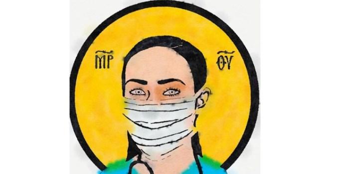 """Francisc Dobos: """"Icoană de azi. Cei care în spitale (medici, asistenți și personal medical) își riscă asumat propria sănătate și viață ca să-i vindece pe alții, nu sunt doar eroi, sunt sfinți. Să ne rugăm pentru ei. Și să nu îi copleșim și cu alte cazuri; așa că: #staiacasa"""" 9"""