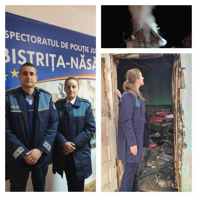 """Eroi! Doi polițiști din România au salvat o familie cu doi copii dintr-o casă care a luat foc. """"Colegii noștri au găsit în casă, dormind, o familie cu doi copii, de 4 și 7 ani.  Polițiștii i-au trezit pe cei din..."""" 1"""