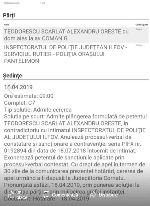 """Oreste: """"Am câștigat procesul cu Inspectoratul de Poliție Ilfov, al cărui angajat, distinsul domn din fotografie, mi-a reținut permisul fără nici un temei, completând un proces verbal neinteligibil!"""" 1"""
