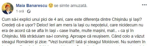 """Maia Banarescu: """"Cum să-i explici unui pici de 4 ani, care este diferența dintre Chișinău și Iași? Credeți că e ușor? Mă străduiam sa-l conving. Aproape că reușisem. Când colo a văzut steagul României și zice: """"Vezi bunica!!! Iată și steagul Moldovei. Nu suntem în Iași, nu e România..."""" Aici m-am blocat... Îi explic despre ..."""" 1"""