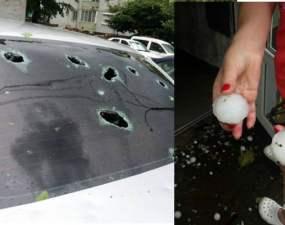 """(Foto) Localități din România """"atacate"""" de grindină mare cât o minge de golf. Mașini distruse 43"""