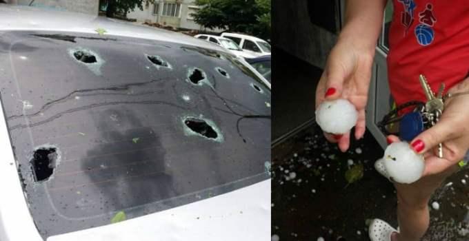 """(Foto) Localități din România """"atacate"""" de grindină mare cât o minge de golf. Mașini distruse 10"""