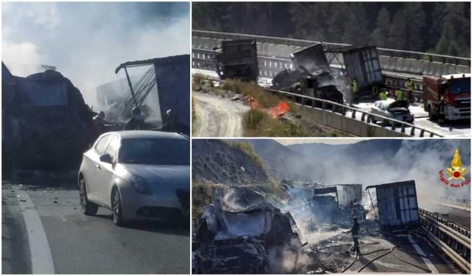 (Foto) Şofer român de TIR salvat din cabina în flăcări, în Italia. Un alt român e rănit, 3 camioane distruse 5