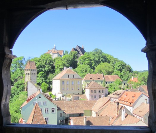 medieval sighisoara romania view over city on sunny day