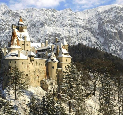 Bran Dracula castle winter Romania Carpathian mountains most beautiful landscapes eastern european medieval castles