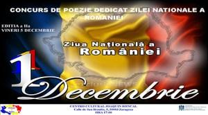 Zaragoza: Concurs de poezie dedicat Zilei Naţionale a României