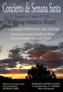 Afişul Concertului de Paşti care va avea loc în Madrid sub bagheta dirijorului român Virgil Popa