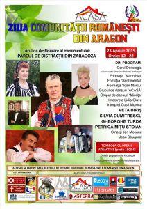 Afiş Festivalul Ziua Comunitatii Romanesti in Aragon 2015