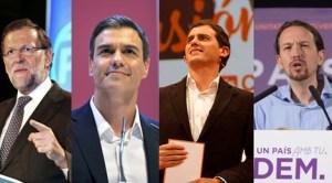 Marino Rajoy, Pedro Sanchez, Albert Rivera, Pablo Iglesias