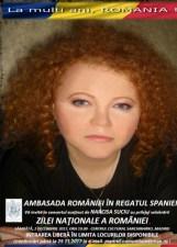 Cântăreaţa Narcisa Suciu va susţine un concert la Madrid cu prilejul Zilei Naţionale a României