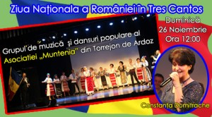 Spectacol de muzică şi dansuri tradiţionale româneşti în oraşul madrilen Tres Cantos cu prilejul Zilei Naţionale a României