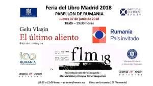 Cel mai reputat scriitor român din Spania Gelu Vlaşin, îşi prezintă cartea Ultima suflare, la Târgul de Carte de la Madrid