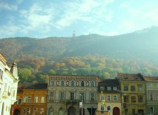 Fall Folliage as Backdrop toTransylvanian City
