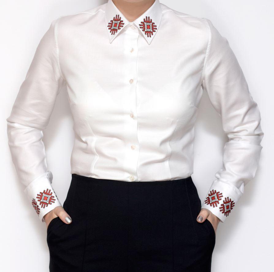camasa business femei cu motive traditionale romanesti