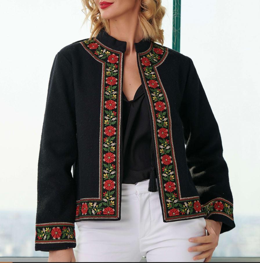 sacou business elegant cu motive traditionale romanesti