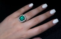 Vintage 7.31 Ct Colombian Emerald and Diamond Engagement ...