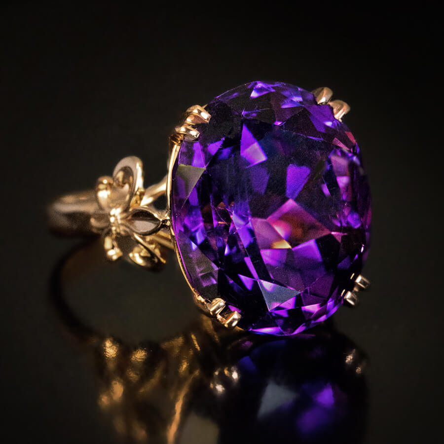 Antique 1900s Siberian Amethyst Rose Gold Ring