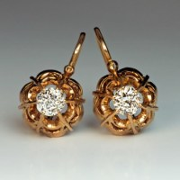 Vintage Buttercup Diamond Two-Color Gold Earrings ...