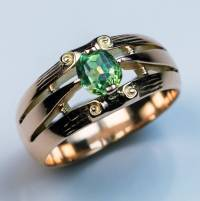 Antique Demantoid Rose Gold Engagement Ring c.1890