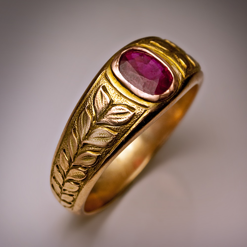 Vintage Ruby Jewelry  Mens Ruby and Gold Ring  Antique
