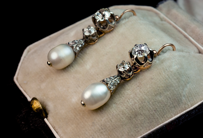 Natural Pearl And Diamond Drop Earrings 1800s  Antique