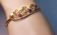 Art Nouveau Jewelry | Vintage Garnet Gold Bangle Bracelet ...