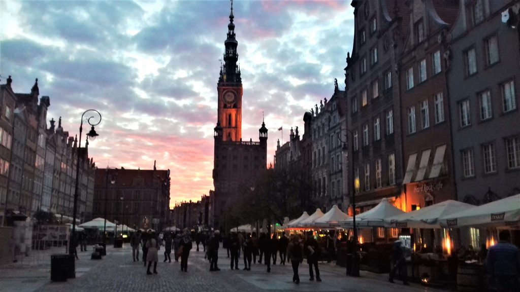 Sunset in Gdansk city center