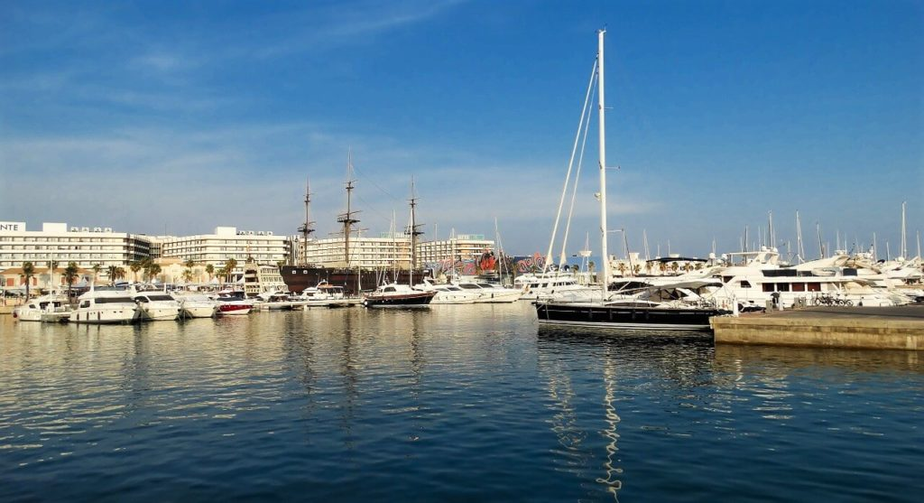 Busy port in Valencia