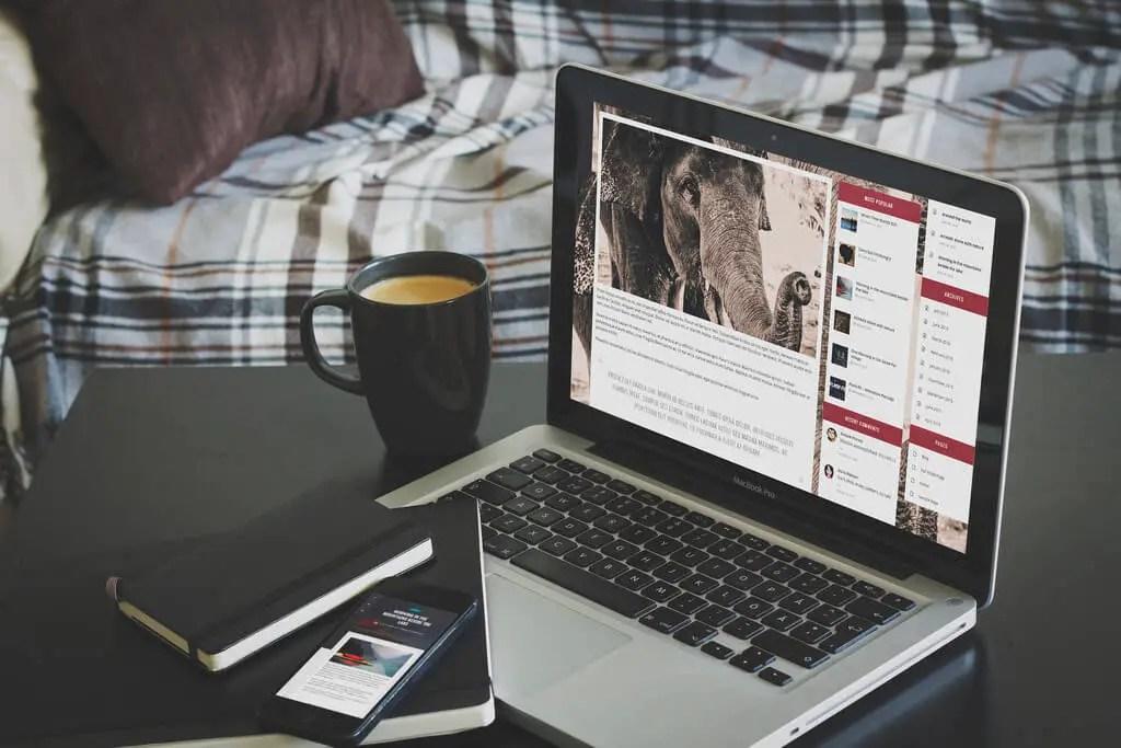 Wordpress travel blog on laptop