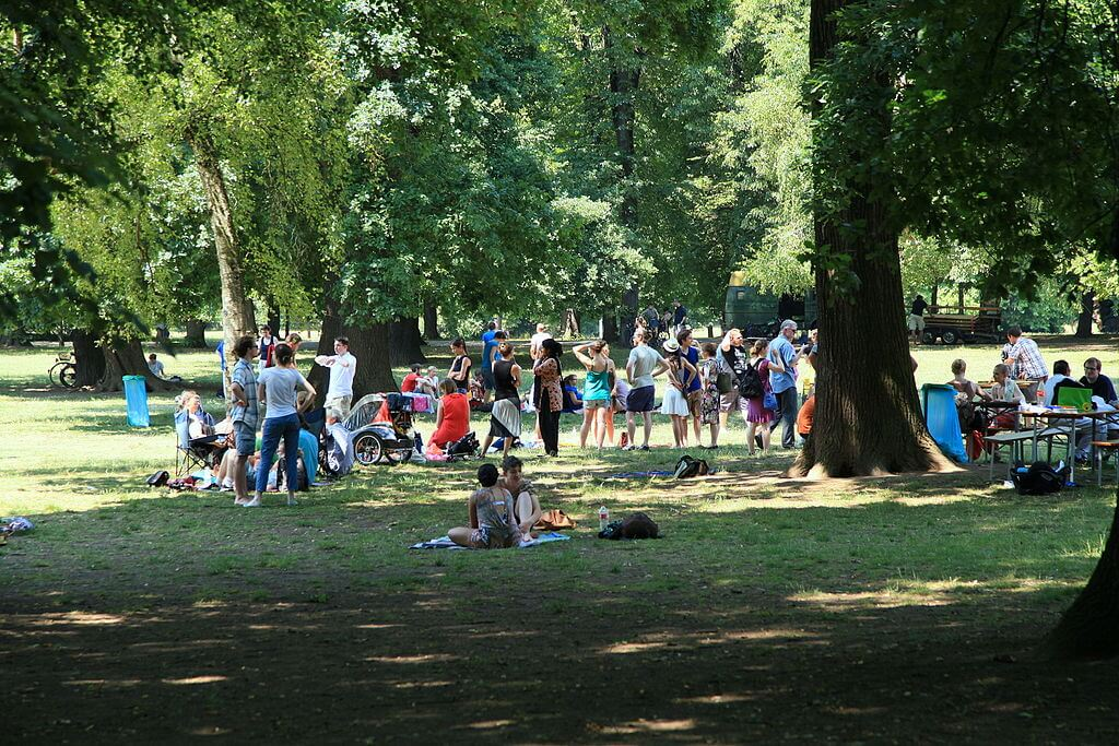 Clara Zetkin park with many people in Leipzig