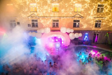 Lucacs Baths party in Budapest from above