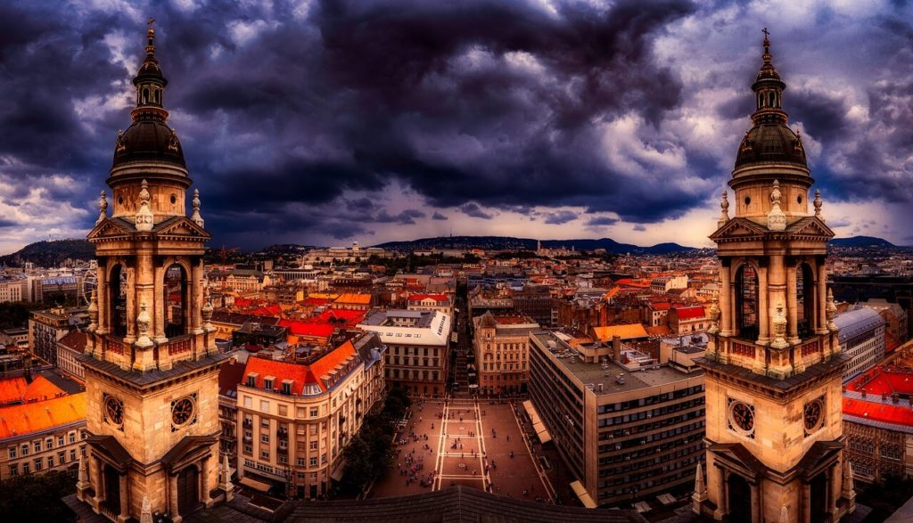 Panorama from the St. Stephen Church in Budapest, top attractions