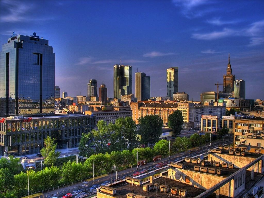 Panorama of Warsaw, new part of the city, city guide