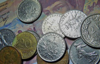 Swiss coins in the money museum in Zurich
