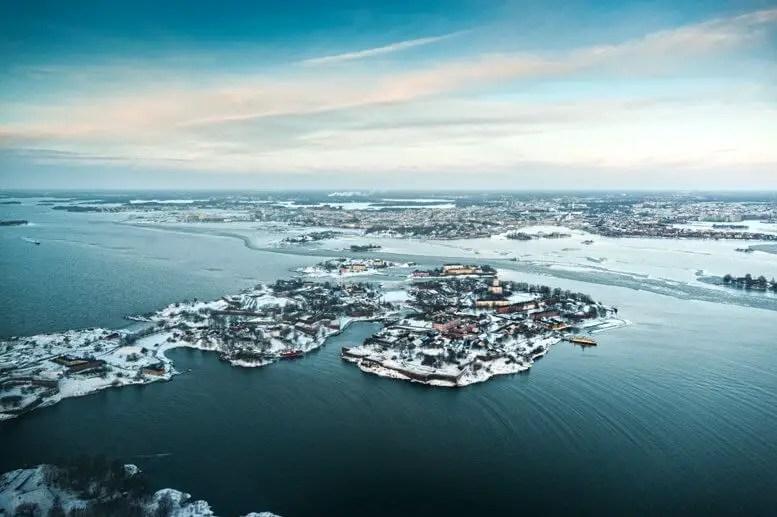 Вид Хельсинки с вертолета,