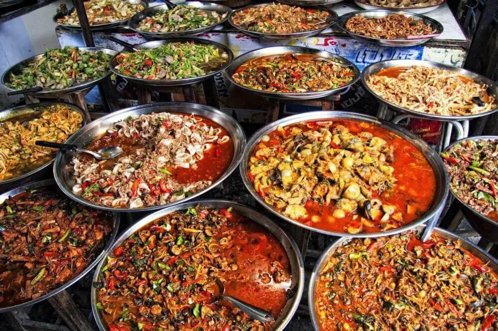 Many dishes of thai food in Bangkok, fun activities