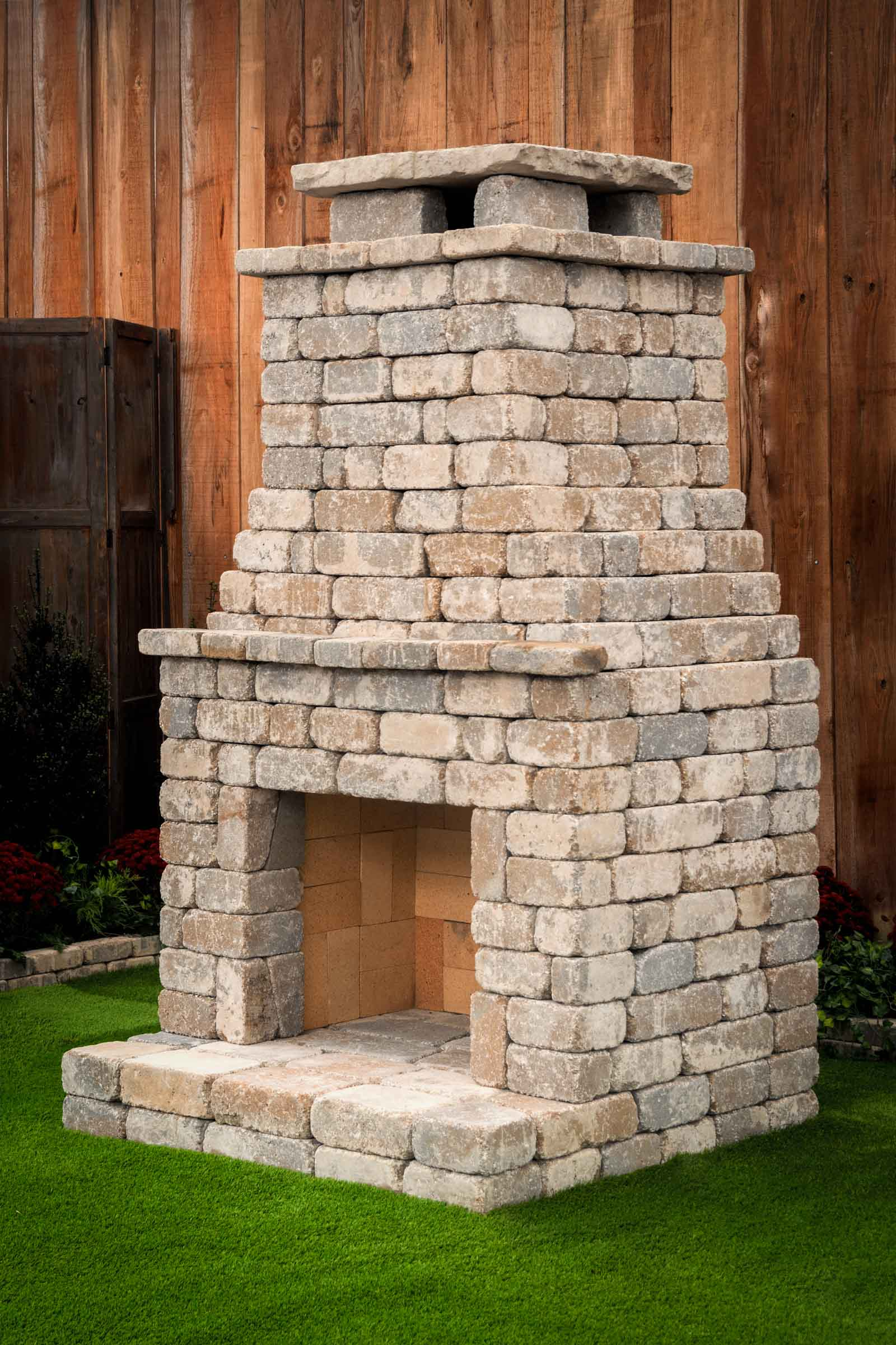 DIY outdoor Fremont fireplace kit makes hardscaping simple ... on Simple Outdoor Brick Fireplace id=98642