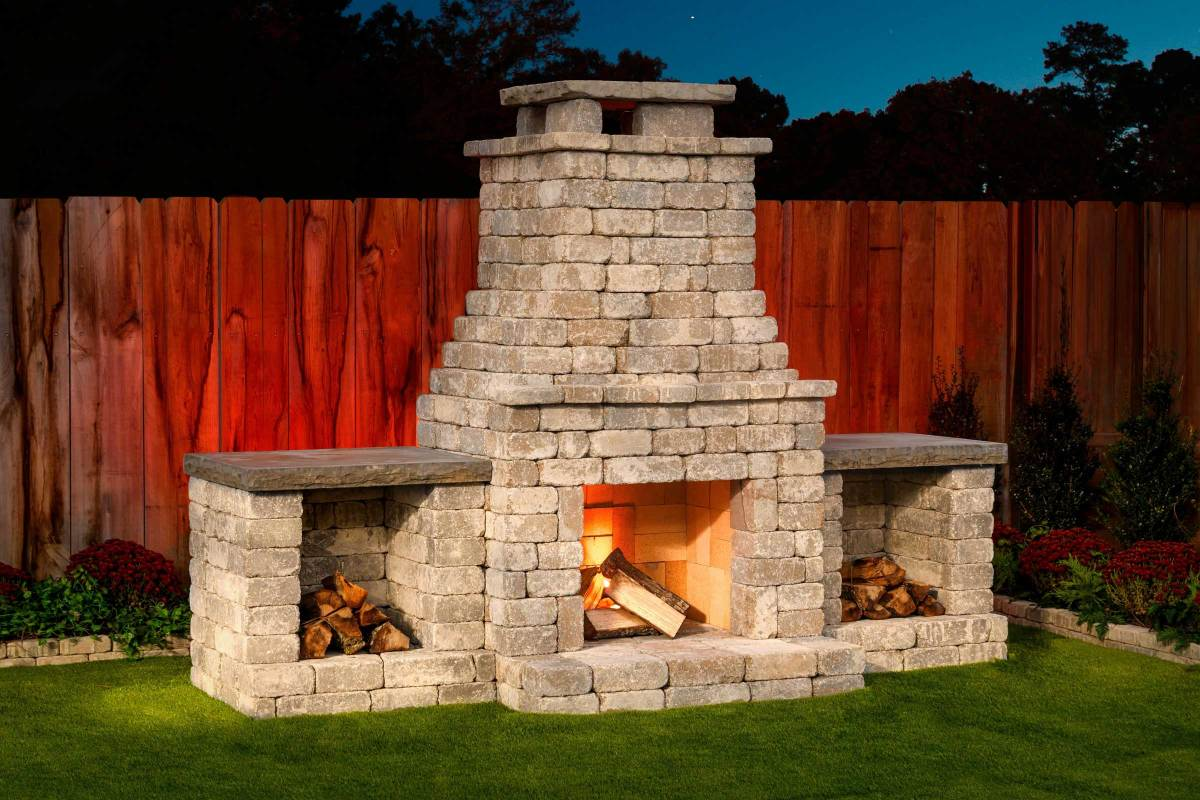 DIY outdoor Fremont fireplace kit makes hardscaping simple ... on Simple Outdoor Brick Fireplace id=70047