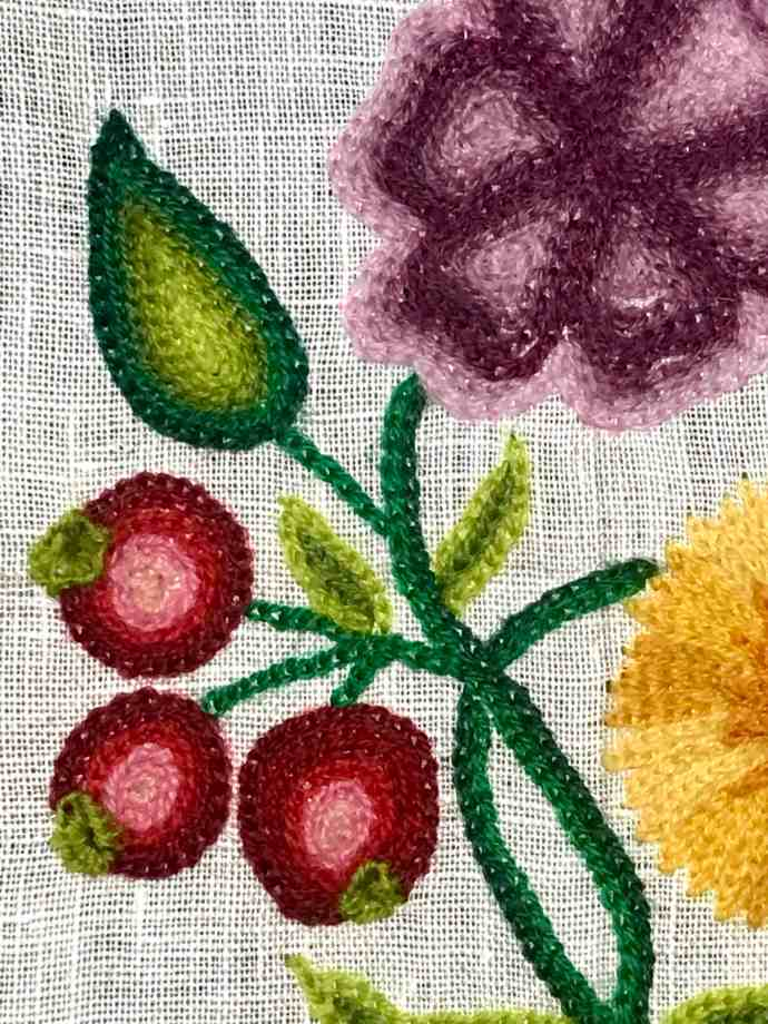 Crewelwork Linen Gown Samples showing improved skill with tambour embroidery