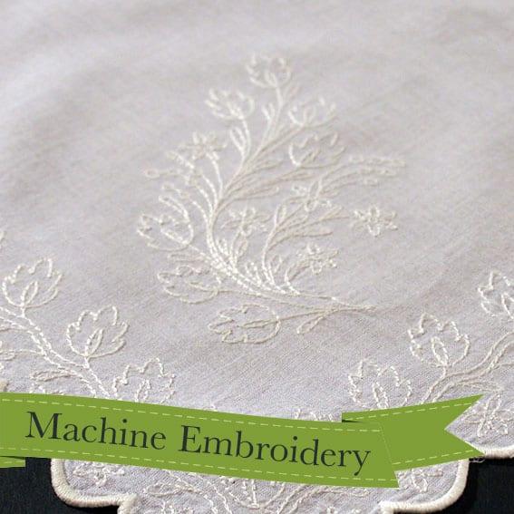 1826 floral sprigged apron