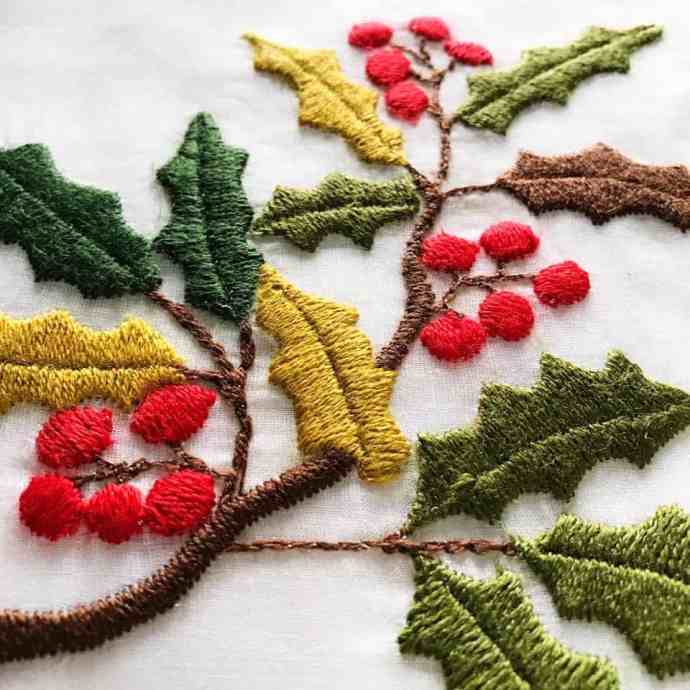 perfect wool embroidery holly leaves