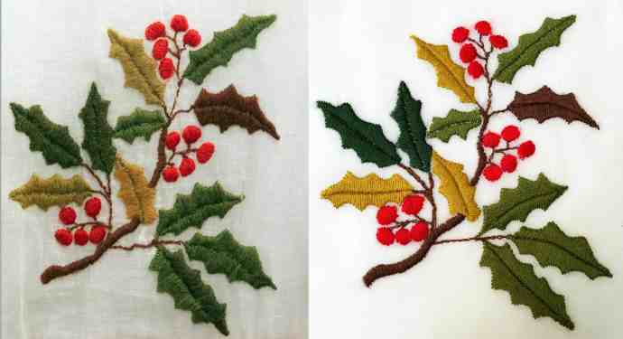 Original Regency crewelwork embroidery vs. reproduction embroidery