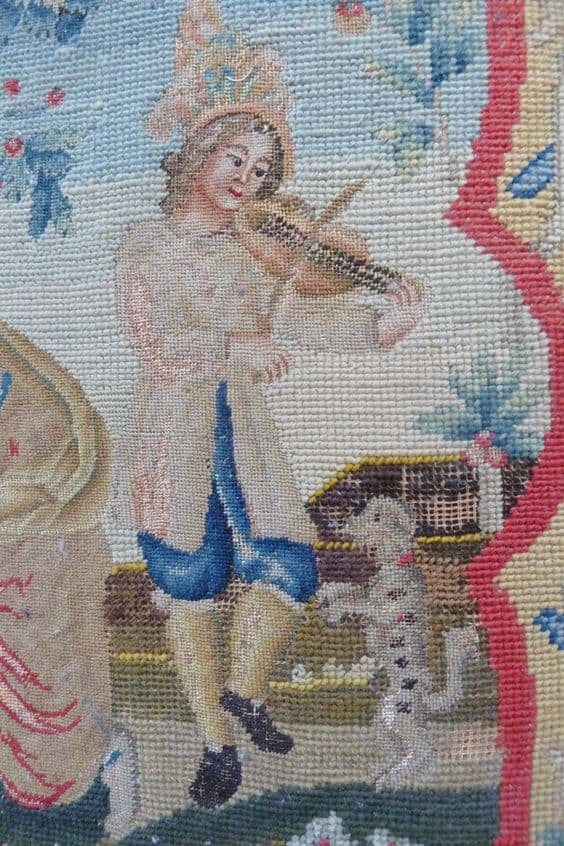 Detail of petit point and gros point armchair